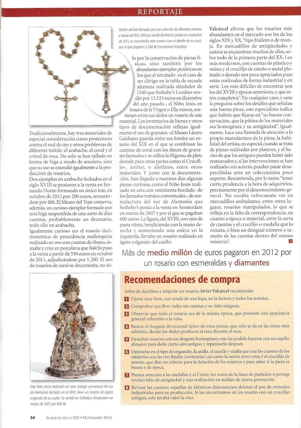 REPORTAJE SOBRE ROSARIOS EN REVISTA SIGLO XXI - SUBASTAS - NOVIEMBRE 2014 Rosari18