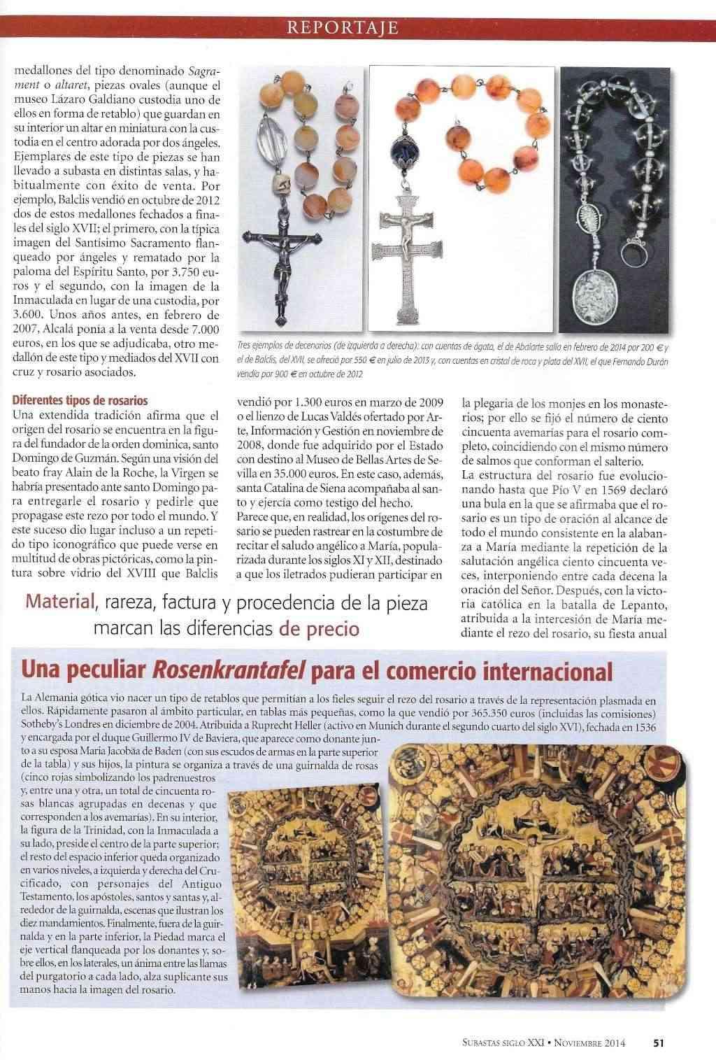 REPORTAJE SOBRE ROSARIOS EN REVISTA SIGLO XXI - SUBASTAS - NOVIEMBRE 2014 Rosari20