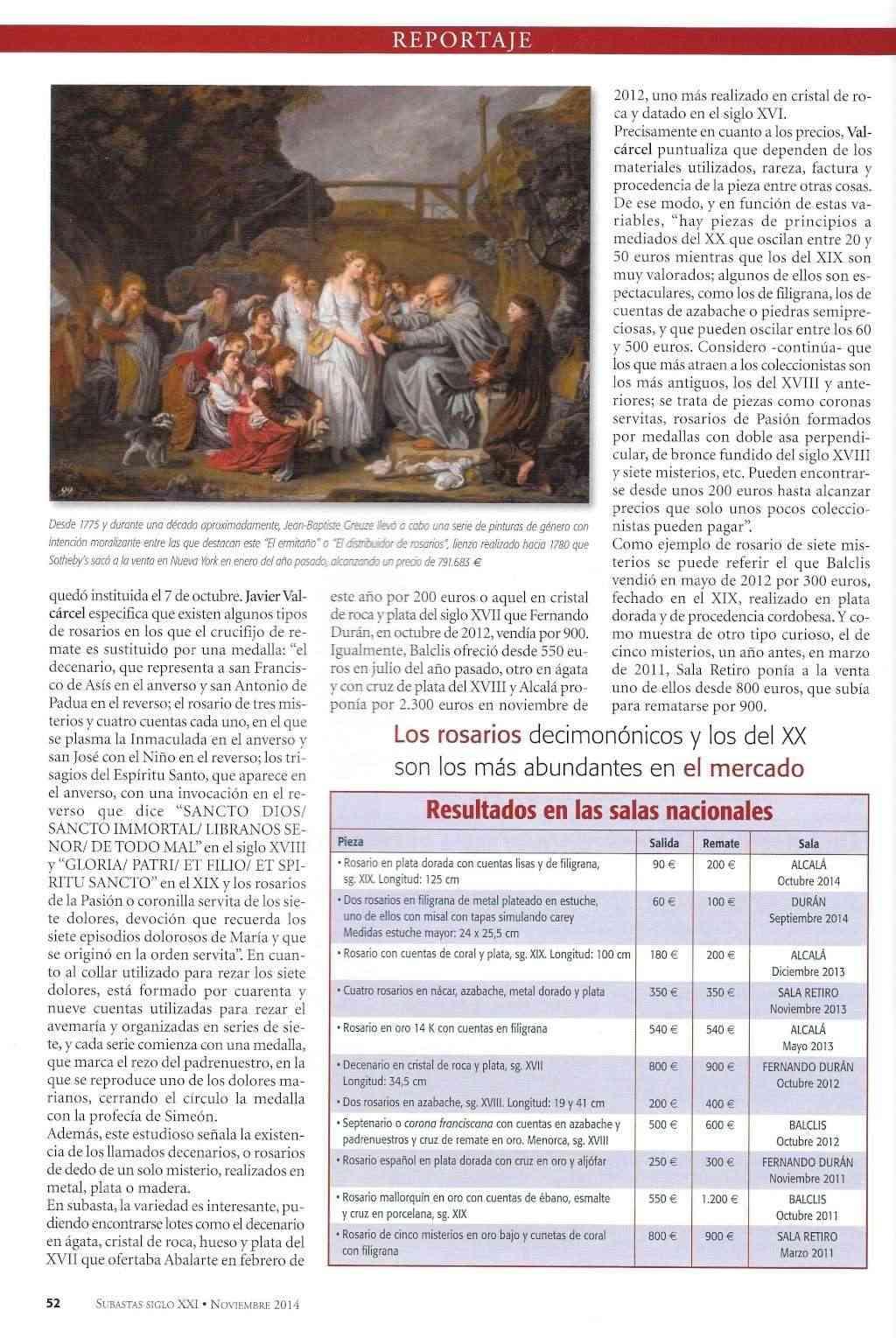 REPORTAJE SOBRE ROSARIOS EN REVISTA SIGLO XXI - SUBASTAS - NOVIEMBRE 2014 Rosari21