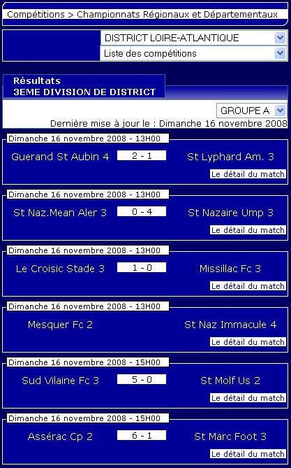 Guerande St Aubin 4  [2 – 1]  St Lyphard Am. 3  (Dimanche 16 novembre 2008) Senior10