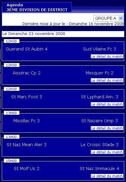 Guerande St Aubin 4  [2 – 1]  St Lyphard Am. 3  (Dimanche 16 novembre 2008) Senior12