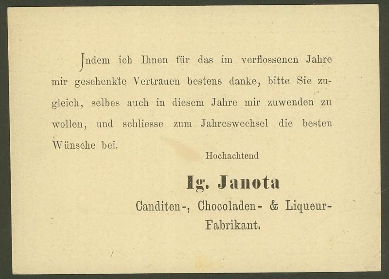 Lebensmittelwerbung auf Ganzsachenpostkarten Janota12