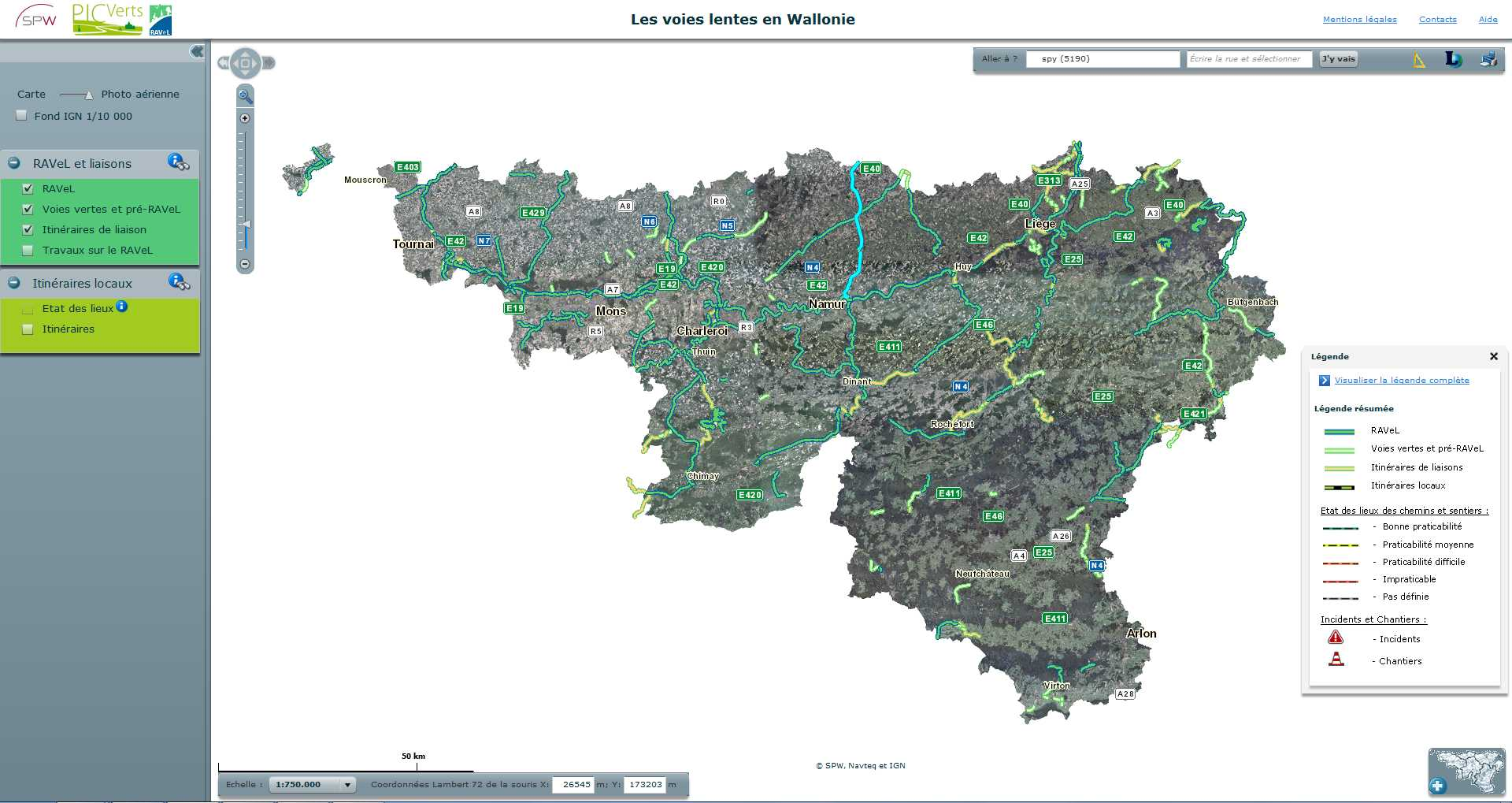 Carte interactive des voies lentes de Wallonie. 2014-121
