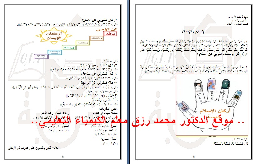 ملخص التربية الدينية للصف الخامس الابتدائى الازهرى الترم الاول بالصورتحميل مباشرموقع الدكتور محمد رزق Captur43