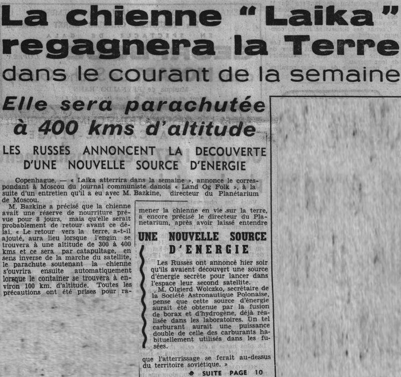 3 novembre 1957 - Spoutnik 2 - Laïka - 1er sacrifié spatial 57110611