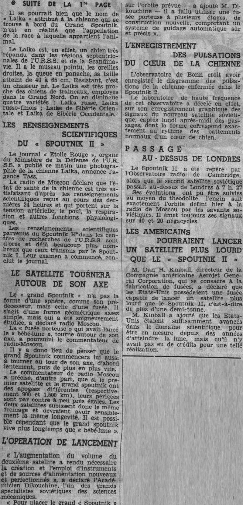3 novembre 1957 - Spoutnik 2 - Laïka - 1er sacrifié spatial 57110612