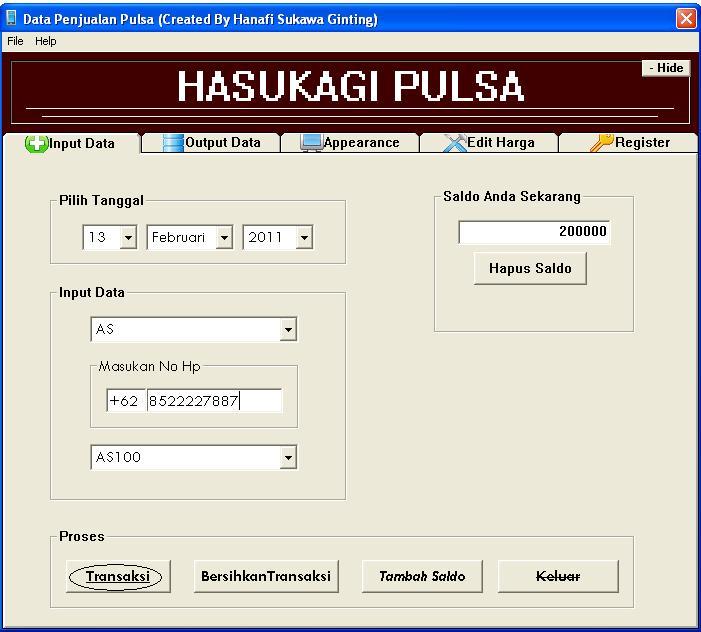 Aplikasi Penjualan Pulsa Final dengan visuaL basic 6 (VB6) 513