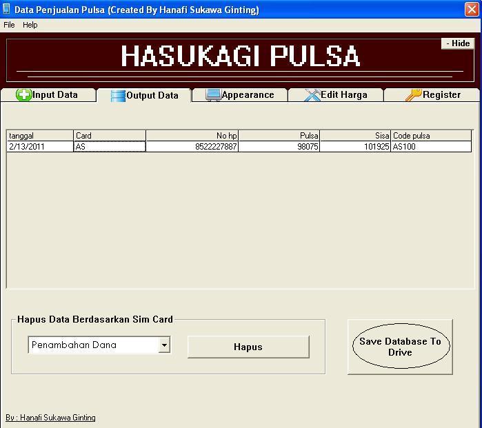 Aplikasi Penjualan Pulsa Final dengan visuaL basic 6 (VB6) 610