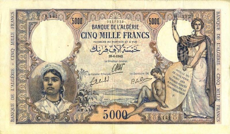 Émissions 5000 Francs Algérie de 1942 à 1946 (Photos rares) P18_0225