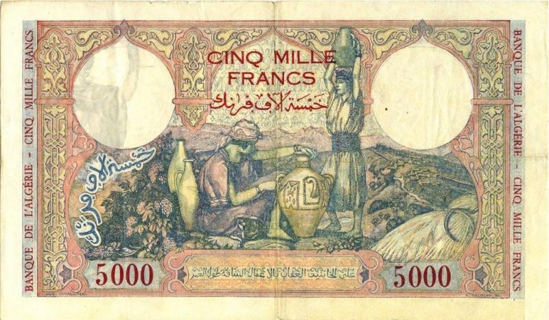 Émissions 5000 Francs Algérie de 1942 à 1946 (Photos rares) P18_0226