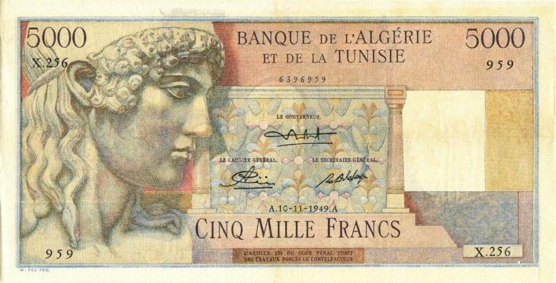 Émissions 5000 Francs Algérie de 1942 à 1946 (Photos rares) P18_0322