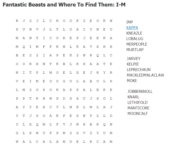 Fantastic Beasts and Where to Find Them: I-M Wordsearch I-m10