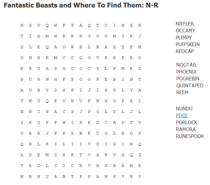 Fantastic Beasts and Where to Find Them: N-R Wordsearch N-r10