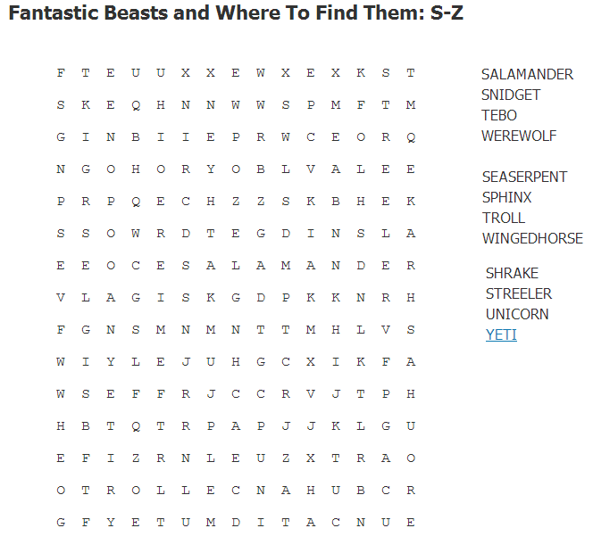 Fantastic Beasts and Where to Find Them: S-Z Wordsearch S-z10