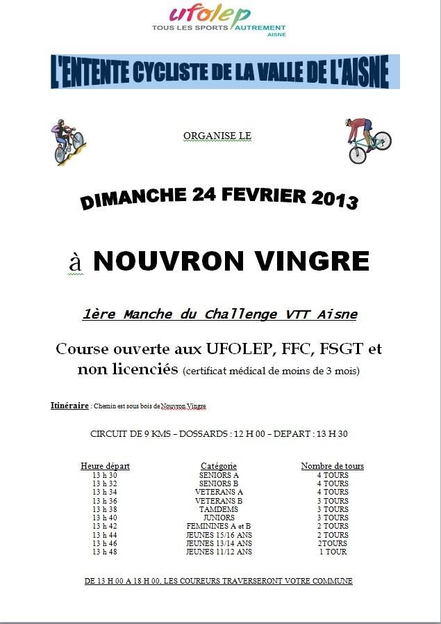 24/02 Nouvron Vingre 1ere Manche Challenge Vtt Aisne Affich10