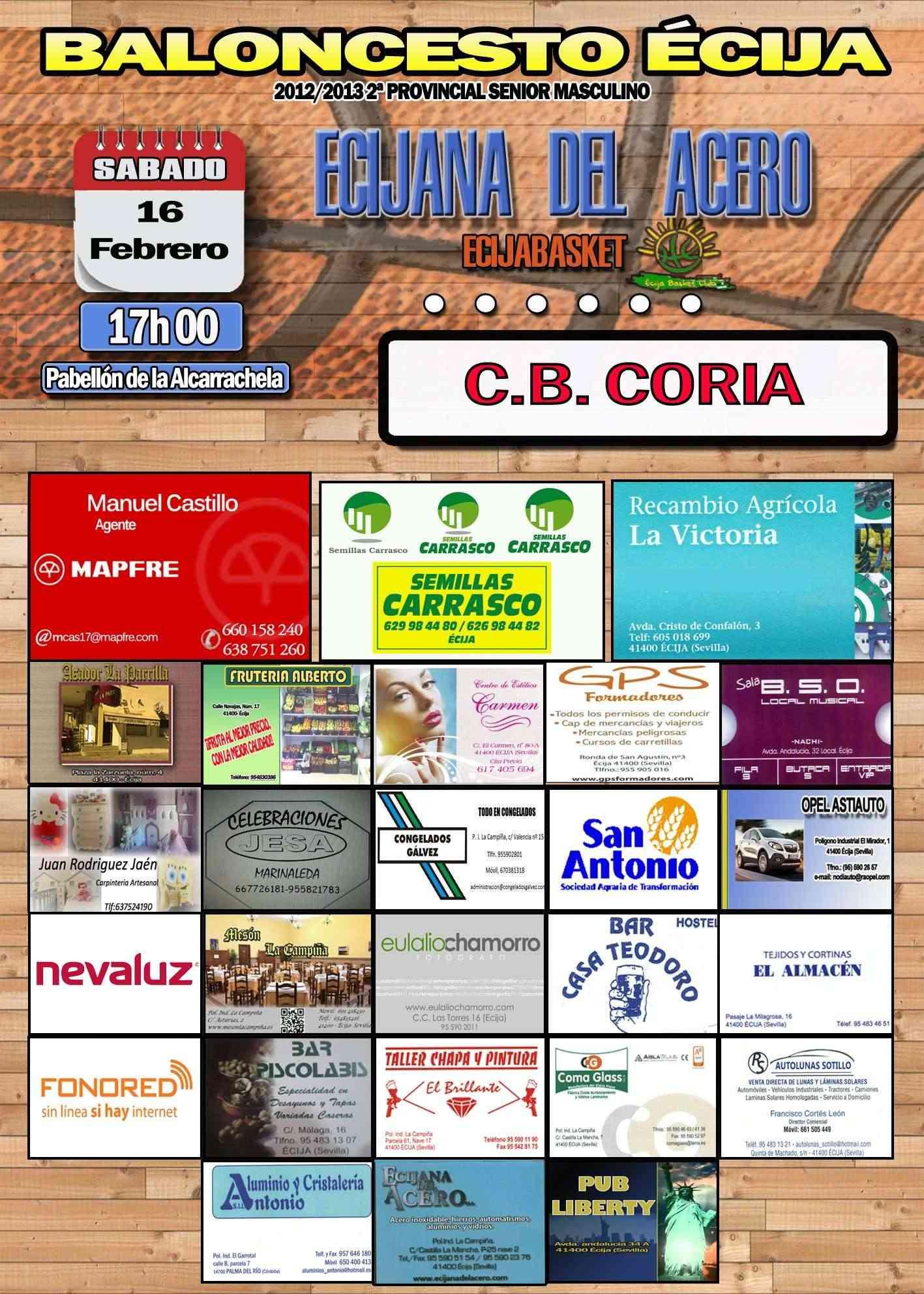 Cartel 16 Febrero 2013- Ecijana del Acero Vs C.B. Coria Nuestros patrocinadores. Ecija_10