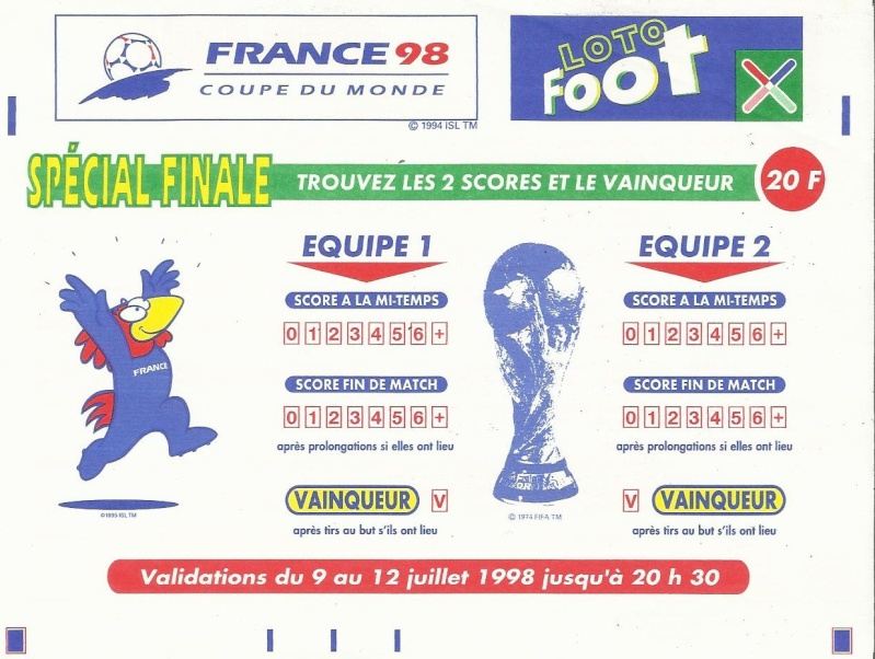 GRILLE LOTO FOOT FINALE FRANCE 98 Loto_f10
