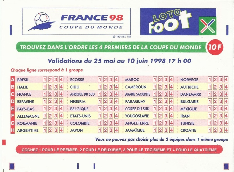 GRILLE LOTO FOOT FINALE FRANCE 98 Loto_f11