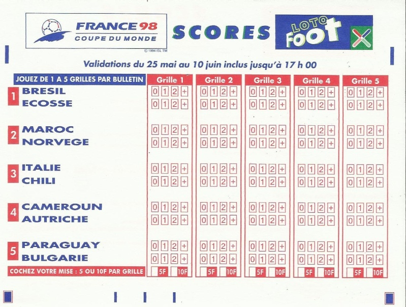GRILLE LOTO FOOT FINALE FRANCE 98 Loto_f12