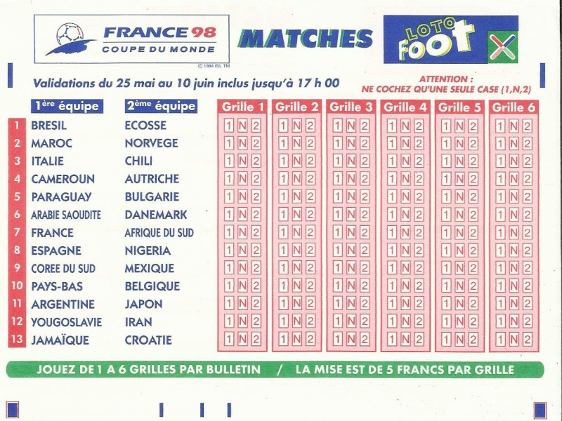 GRILLE LOTO FOOT FINALE FRANCE 98 Loto_f13