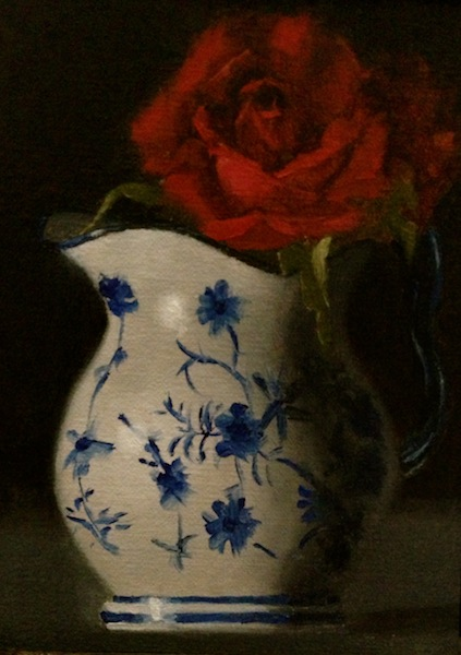 67th Painting:  Pitcher and the Rose Rosein10