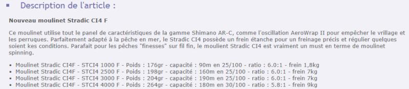 Nouveau moulinet Shimano Stradic ci4+ Ci410