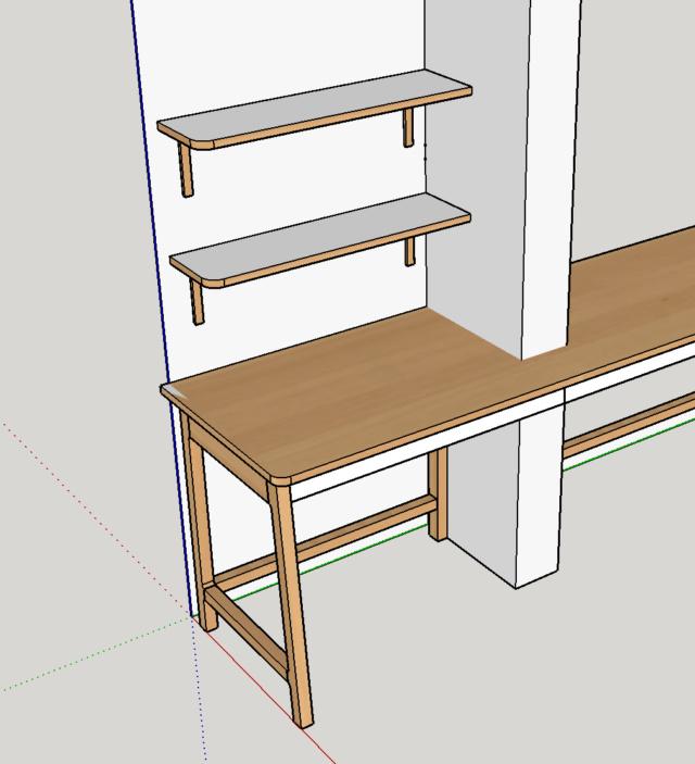Simple étagère avec équerre en lamellé-collé cintrée Plan110