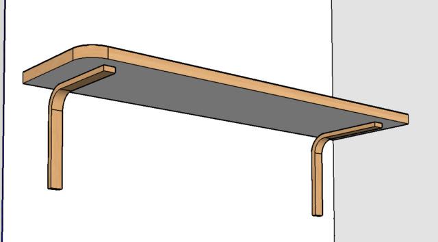 Simple étagère avec équerre en lamellé-collé cintrée Plan210