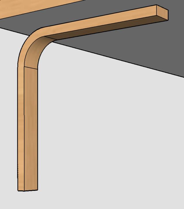 Simple étagère avec équerre en lamellé-collé cintrée Plan310