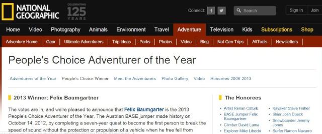 Felix Baumgartner - Aventurier de l'année pour le National Geographic Captur12