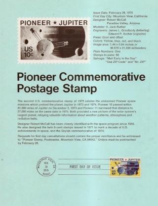 Philatélie spatiale USA - 1975 - Pioneer 10 / Jupiter Pionee11