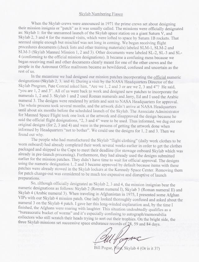 Programme Skylab - Le secret de la numérotation des missions par Bill Pogue Skylab14