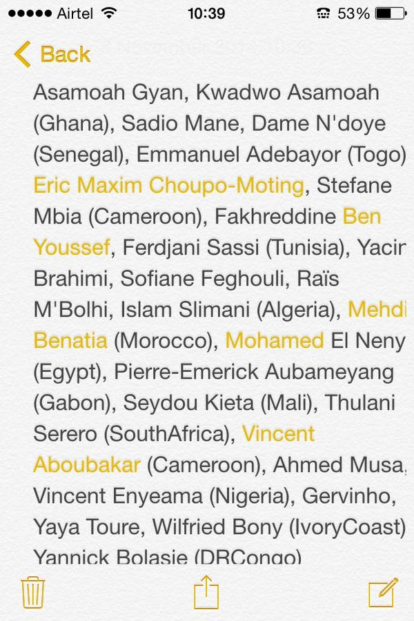 Yaya Toure heads a list of 25 players nominated for the 2014 African Player of the Year Africa10