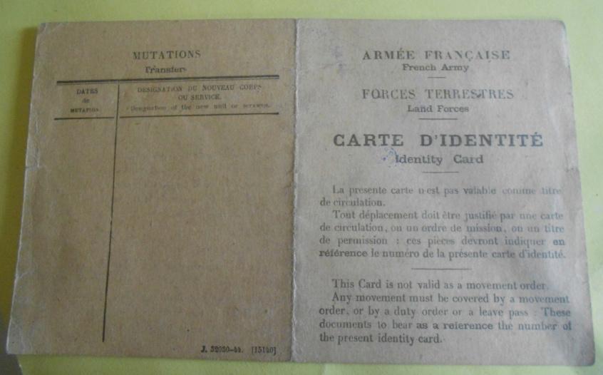 Carte identité sous officier 1944 Captur13