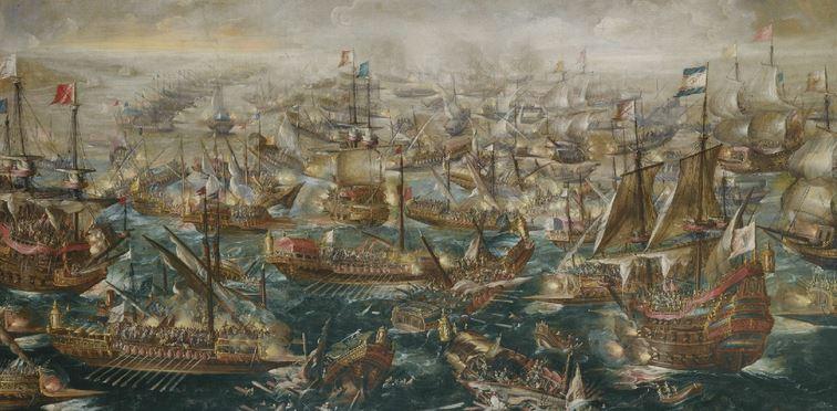 7 octobre 1571, dans le golfe de Lépante, à la sortie du détroit de Corinthe. Lepent10