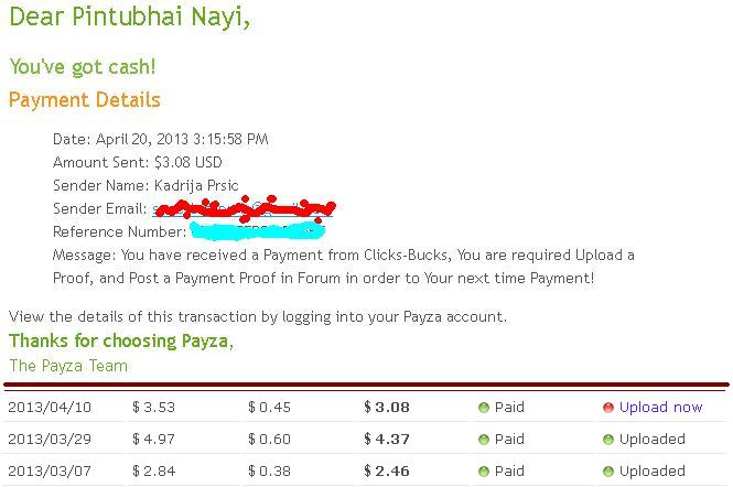 My 3rd Payment Proof. Clicks10