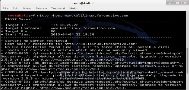 Manual nikto para Kali Linux Nikto10