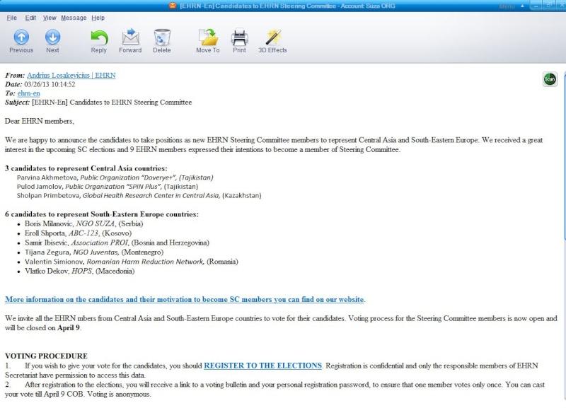 SUZA KANDIDAT ZA PRESEDAVANJE EHRN Steering Committee-a (upravnog odbora) Ehrn_c10