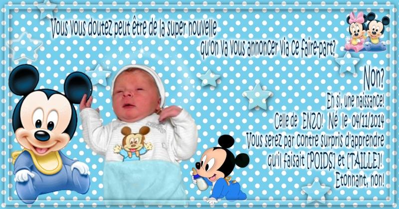 faire part bébé mickey enzo Essais10