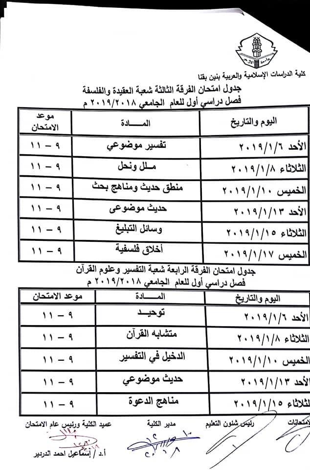 جدول امتحانات كلية الدراسات الاسلامية والعربية بقنا 48425010