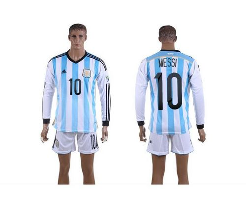 Argentina #10 Lionel Messi Home World Cup Long Sleeves Soccer Country Jersey avec les shorts / 75$ Argent10