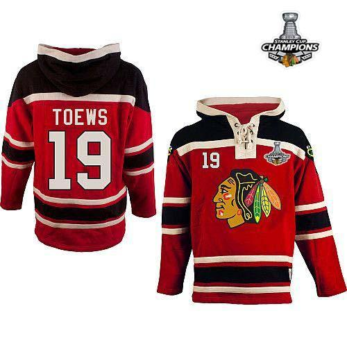 Blackhawks #19 Jonathan Toews Red Sawyer Hooded Sweatshirt Stitched Stanley Cup / 90$ Blackh12
