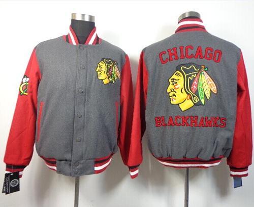 Chicago Blackhawks Satin Button-Up Grey NHL Jacket / 130$ Blackh16