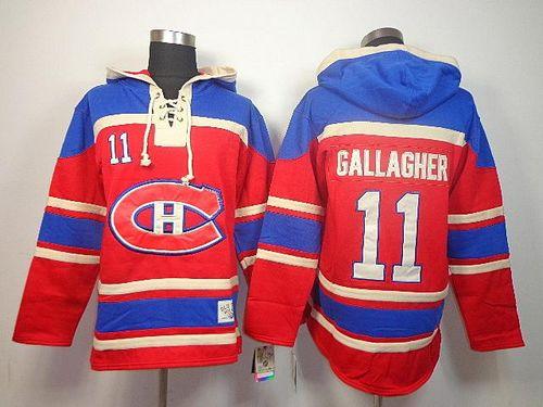 Canadiens #11 Brendan Gallagher Red Sawyer Hooded Sweatshirt Stitched NHL Jersey / 90$ Canadi12