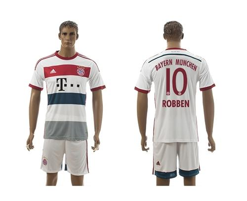 Bayern Munchen #10 Robben White Away Long Sleeves Soccer Club Jersey avec les shorts! / 75$ Munche10