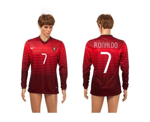 Portugal #7 Ronaldo Red Long Sleeves Soccer Country Jersey / 75$ Portug13