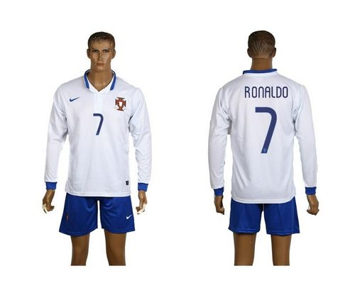 Portugal #7 Ronaldo White Away Long Sleeves Soccer Country Jersey avec les shorts! / 75$ Portug15