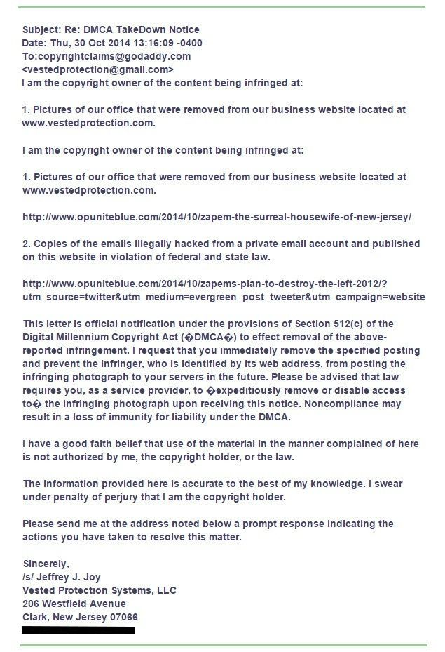 Tea Party Diva Makes DMCA Complaint Against OpUniteBlue.com Dmca_c10