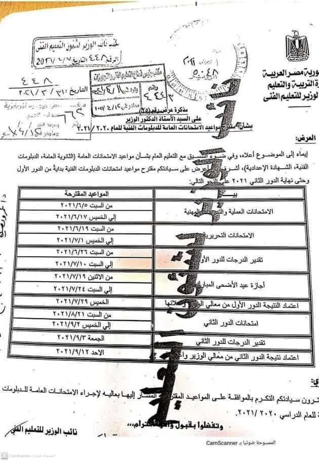 جدول مواعيد امتحانات الدبلومات الفنية 2021 001136